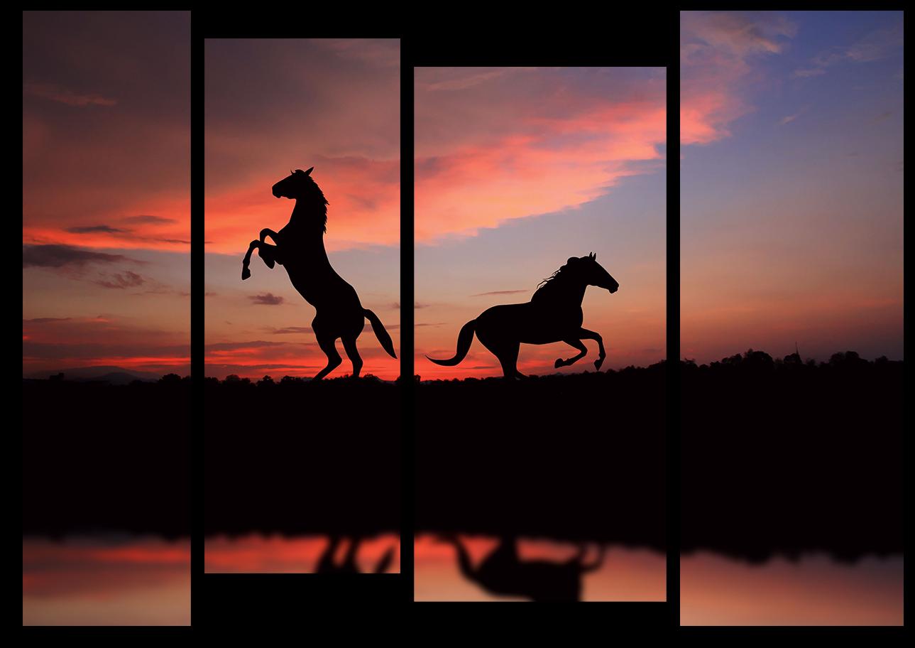 "Животные Модульная картина ""Лошади на закате"" М984.png"