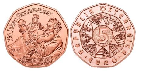 5 евро 2017 Австрия - 150 лет Дунайскому вальсу