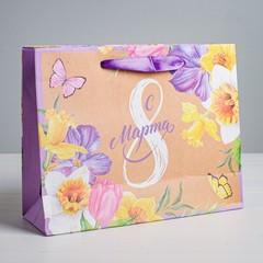 Пакет крафтовый горизонтальный «С 8 марта», ML 27 × 23 × 8 см