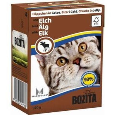 Bozita Feline консервы для кошек кусочки в желе с лосем 370г