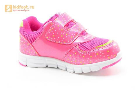Светящиеся кроссовки для девочек Фиксики на липучках, цвет фуксия, мигает картинка сбоку. Изображение 2 из 15.