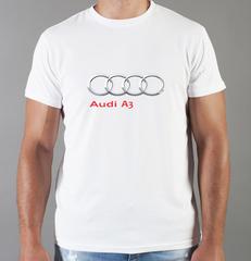 Футболка с принтом Ауди A3 (Audi A3) белая 0057