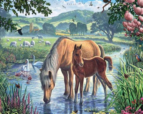 Алмазная Мозаика 20x30 Лошадь и жеребенок на водопое