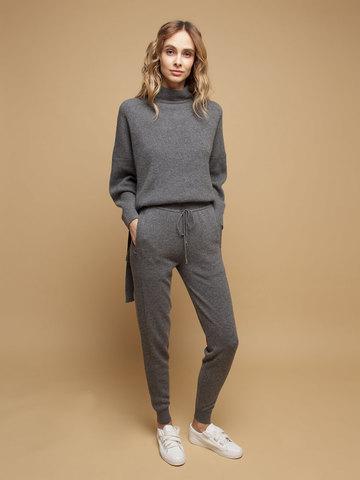 Женские брюки темно-серого цвета из 100% кашемира - фото 2