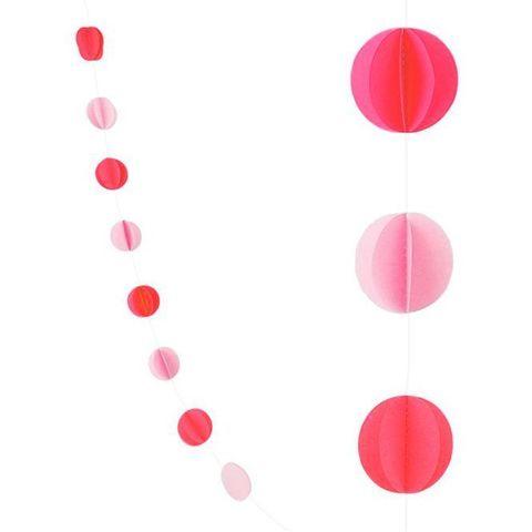 Гирлянда-подвеска Круги, Красный и Розовый