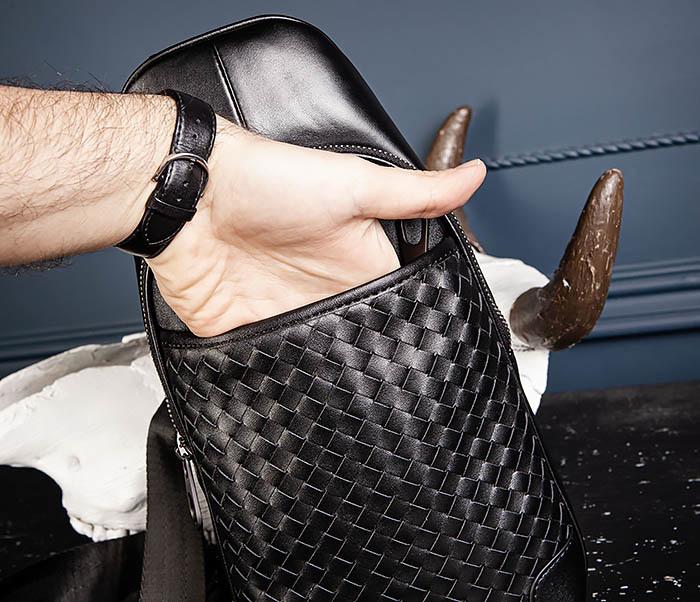 BAG537-1 «Плетеная» кожаная сумка через одно плечо фото 12