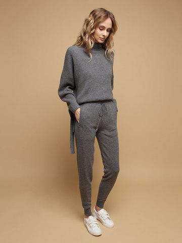 Женские брюки темно-серого цвета из 100% кашемира - фото 3