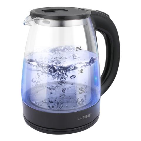 Чайник стеклянный LUMME LU-160 черный жемчуг