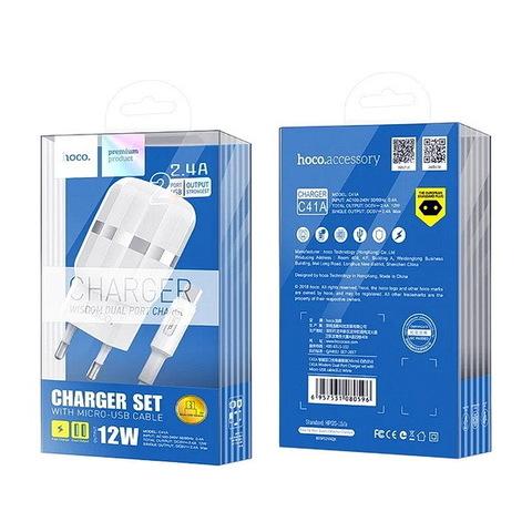 СЗУ HOCO C41A с кабелем microUSB (2xUSB, 2.4A) white