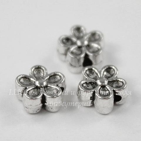 """Бусина металлическая """"Цветочек"""" 7х3 мм (цвет - античное серебро), 10 штук"""