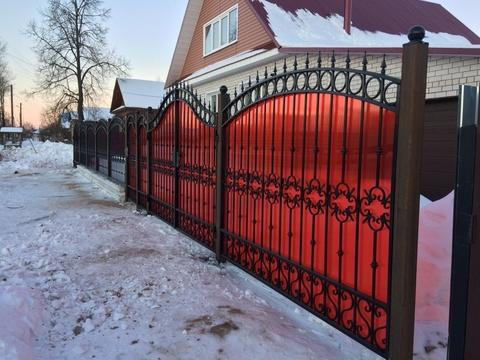 Кованый забор с поликарбонатом N-10