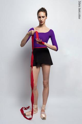 Юбка на запах черная с контрастным красным поясом | 2 длины