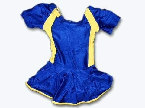 Купальник гимнастический модельный с юбкой. Состав: полиэстер. Размер ХL. Цвет: сине-жёлтый. :(2008):