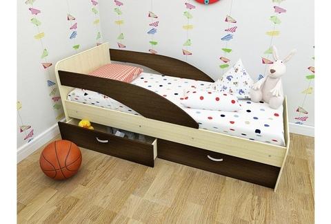 Кровать Антошка млечный дуб / венге