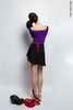 Black wrap chiffon skirt with red contrast ribbon | 2 lengths