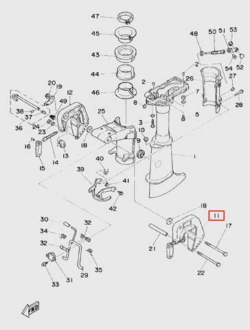 Скоба струбцины правая для лодочного мотора T5 Sea-PRO (10-11)
