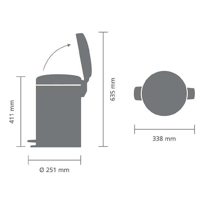 Мусорный бак newicon (12 л), Минерально-графитовый, арт. 113802 - фото 1