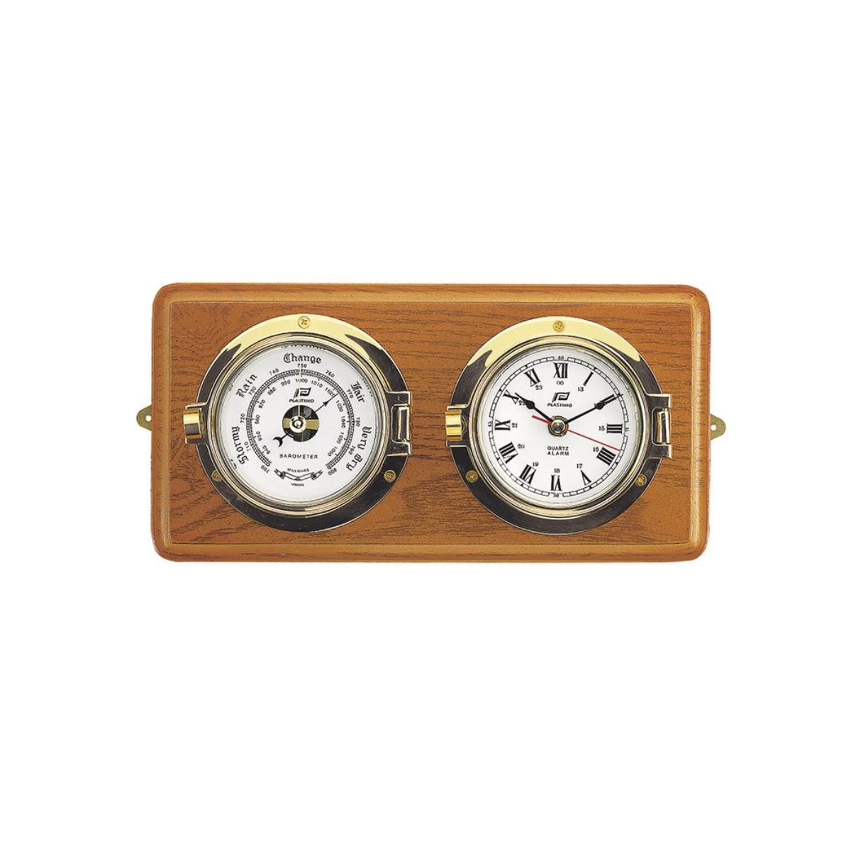 3'' CLOCK & BAROMETER SET ON HARD WOOD BOARD