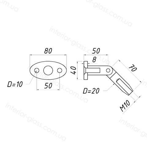 Крепление стена-тяга ST-603 для стеклянных козырьков, навесов