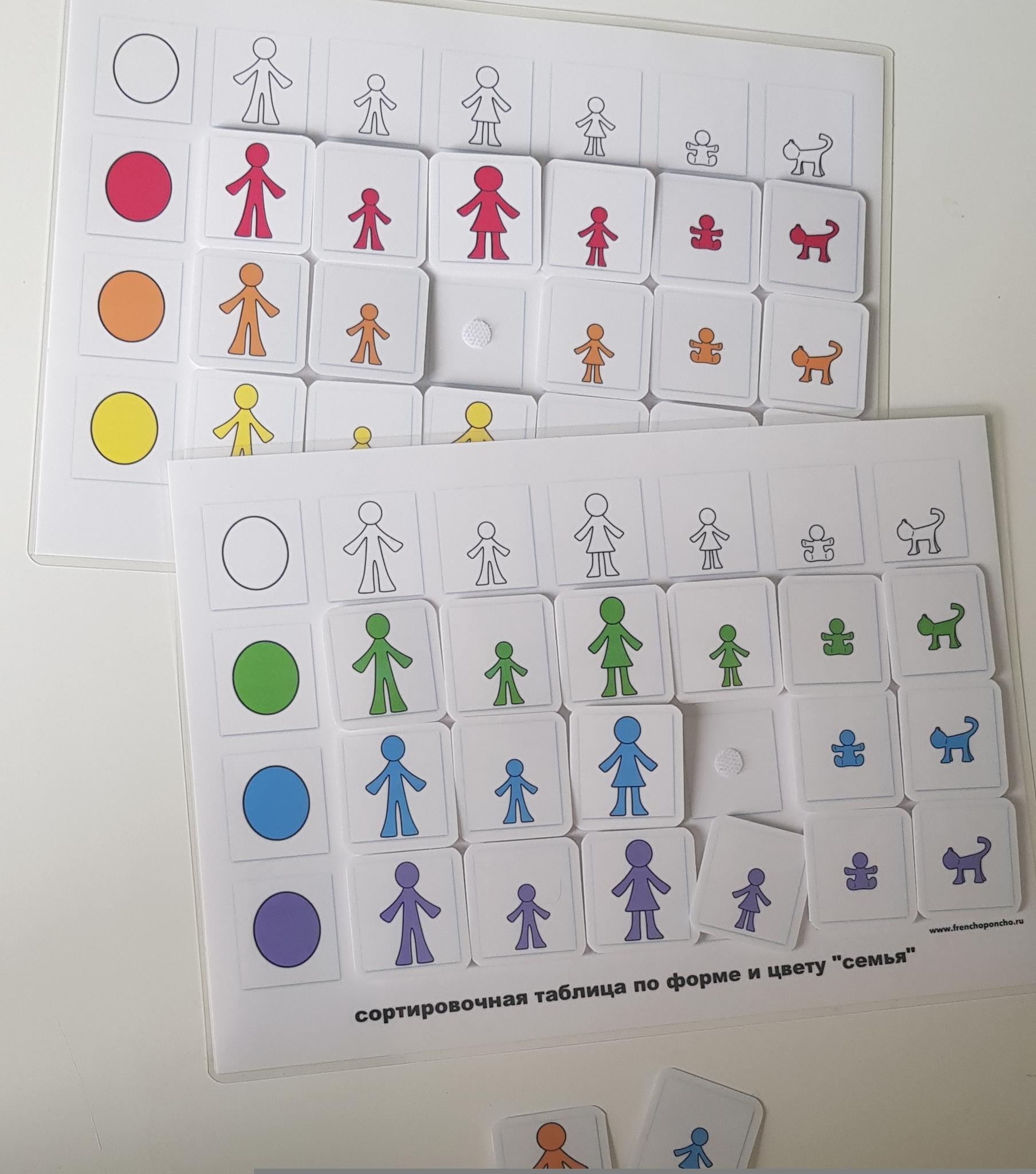 """Сортировочная таблица по форме и цвету """"Семья"""". Развивающие пособия на липучках Frenchoponcho (Френчопончо)"""