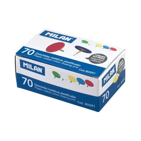 Кнопки канцелярские Milan металлические цветные (70 штук в упаковке)