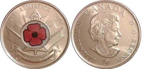 25 центов 90 лет окончания Первой мировой войны 2008 год UNC (Цветная)