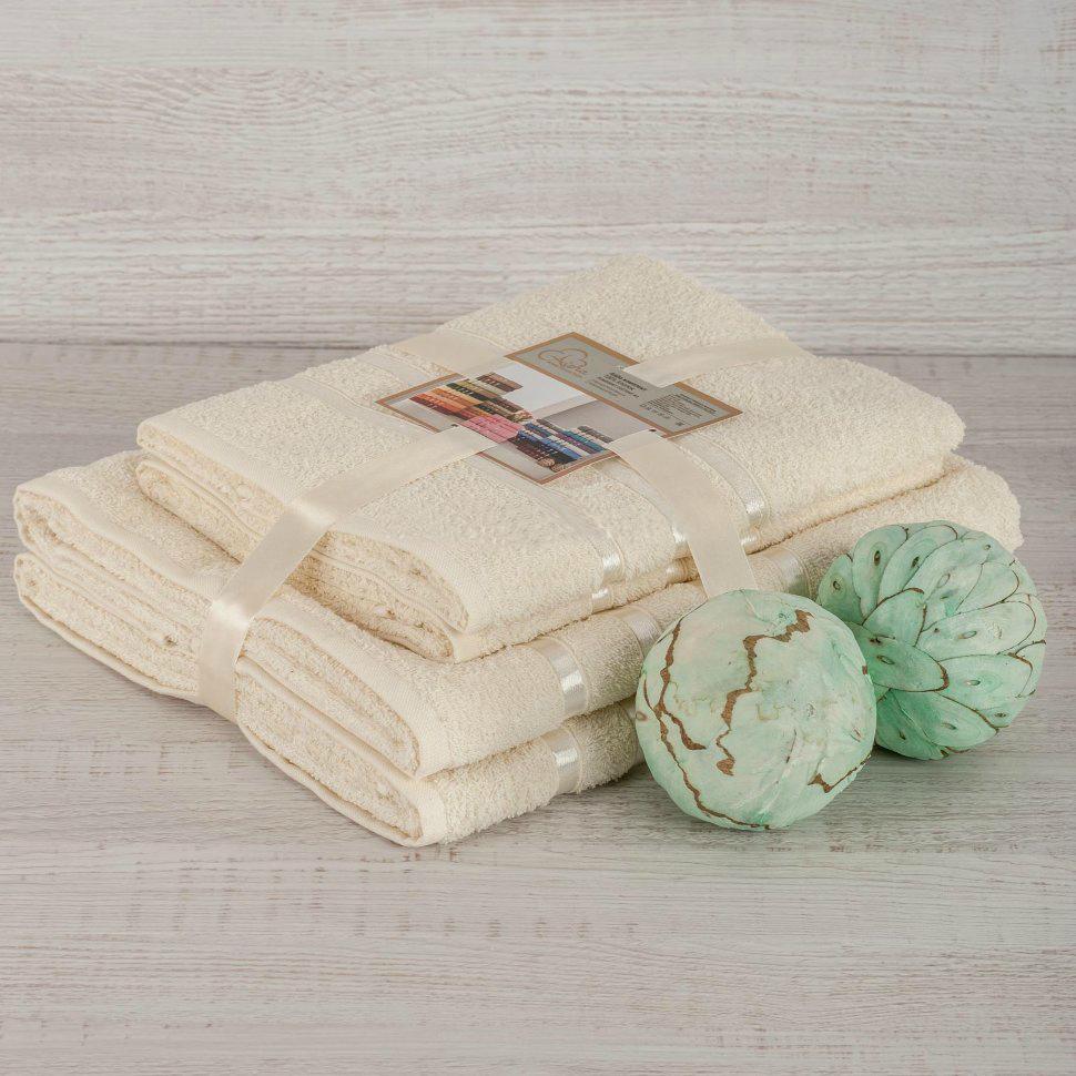 Комплект махровых полотенец 2 шт., шампань