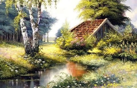 Алмазная Мозаика 20x30 Деревенский домик у воды