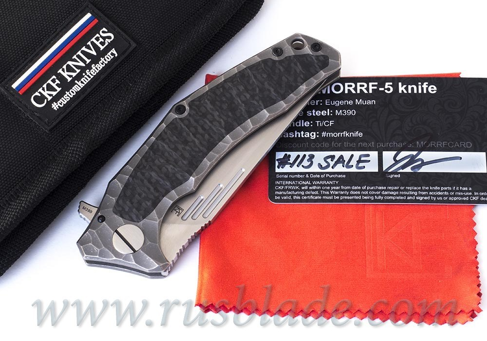 CKF Morrf 5 SALE CARD (Evgeny Muan design, M390, satin, bearings, titanium)