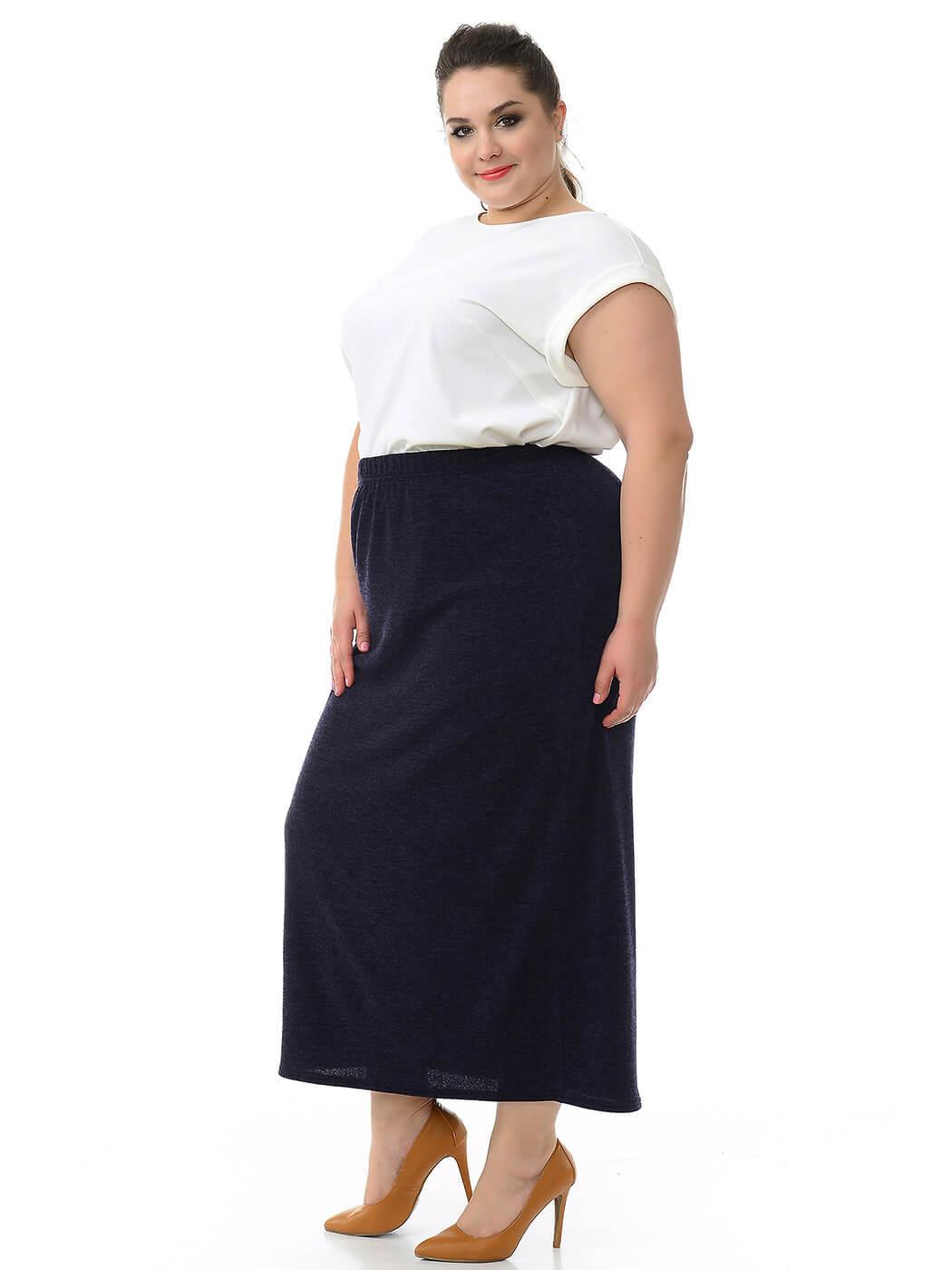 Длинная прямая юбка полной на осень