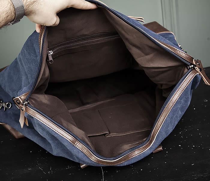 BAG478-4 Сумка саквояж из ткани и кожи для поездок фото 09