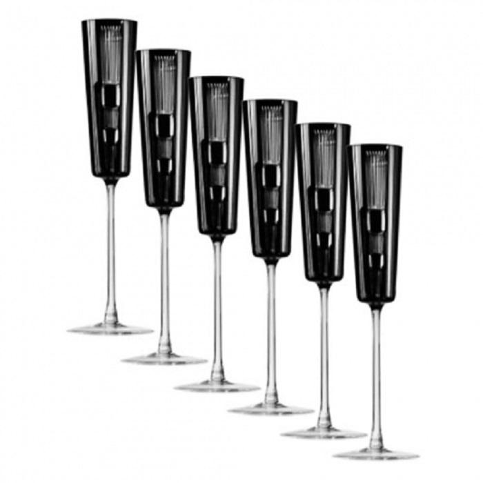 цена на Набор фужеров для шампанского Champagne Retro Black, 110 мл, 6 шт.