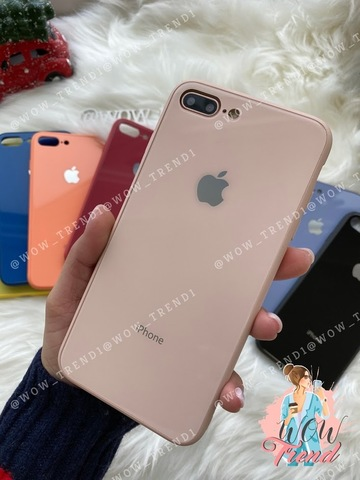Чехол iPhone 7/8 Plus Glass Pastel color Logo /pink sand/