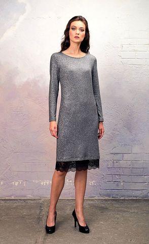 Фото серебристое платье 2 в 1 из блестящей туники и кружева - Платье З335а-428 (1)