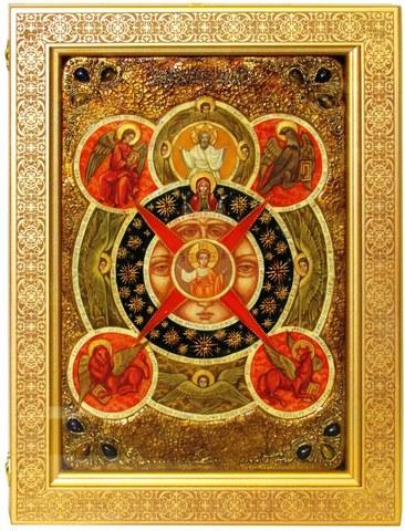 Инкрустированная живописная икона Всевидящее Око Божие 42х29см на натуральном кипарисе в подарочной коробке