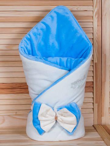 Зимний велюровый конверт одеяло Бантик (кремовый/голубой)