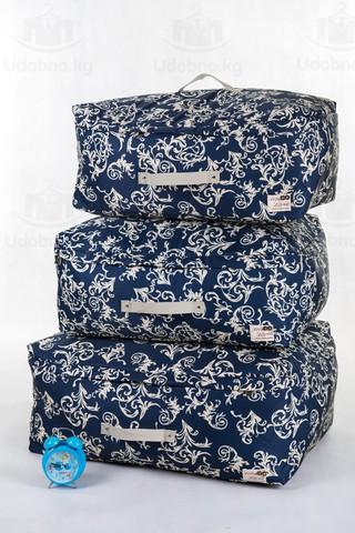 Мягкий средний кофр для одежды, M, 56*32*24 см  (темно-синий с узорами)