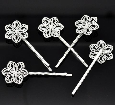 Основа для заколки - невидимки с филигранным цветком 23 мм, 61 мм (цвет - серебро) (B15189C)