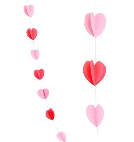 Гирлянда-подвеска Сердца, Красный и Розовый