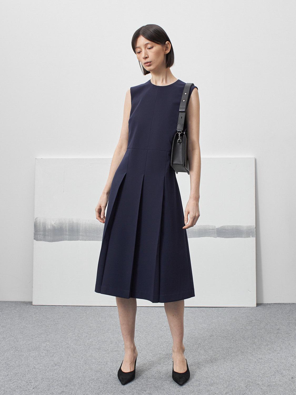 Платье Nora без рукавов со складками, Темно-синий