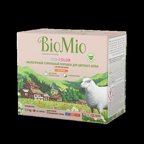 BIO MIO эко-стиральный порошок для цветного белья с экстрактом хлопка, без запаха 1,5 кг
