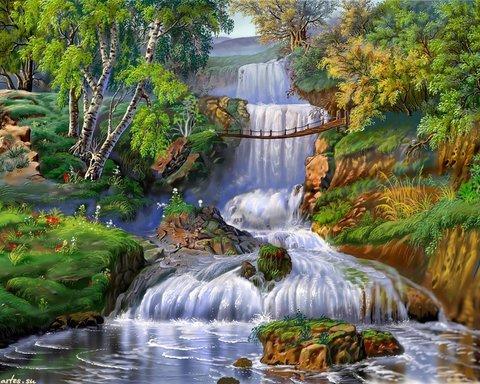 Алмазная Мозаика 30x40 Яркий водопад среди зелени (арт. GB70029)