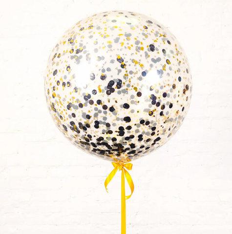 Большой шар с конфетти круги (золото и черный)