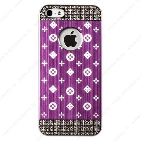 Накладка LV металлическая для iPhone SE/ 5s/ 5C/ 5 серебро светло-розовая