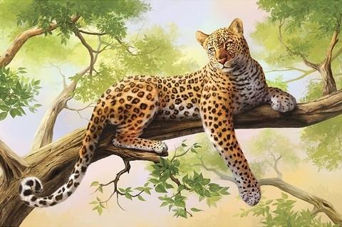 Алмазная Мозаика 30x40 Тигрица отдыхает на дереве (арт. GB70306)