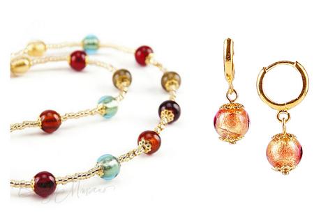 Комплект Carnavale Oro Piccolo (золотисто-розовые серьги Piccolo, ожерелье)
