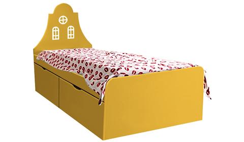 Детская кровать оранжевого цвета