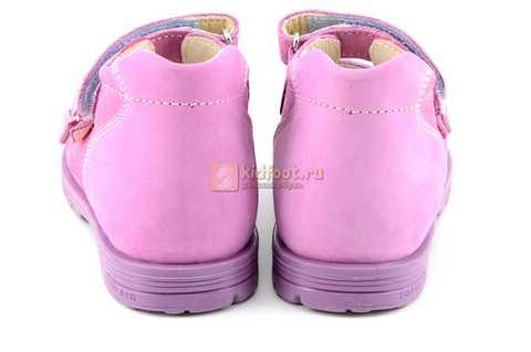 Босоножки Тотто из натуральной кожи с открытым носом для девочек, цвет сирень розовый. Изображение 7 из 12.
