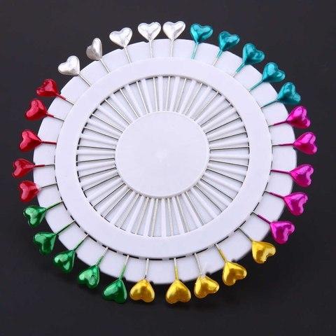 Булавки 55 мм наметочные цветные сердечко 30 шт.