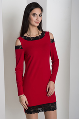 Ажур. Молодежное платье с кружевом. Красный
